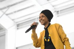 In this Feb. 29, 2020 file photo, U.S. Rep. Ilhan Omar, D-Minn., speaks at a rally in Springfield, Mass.