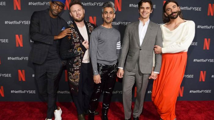 "In this May 16, 2019 file photo, ""Queer Eye"" hosts Karamo Brown, from left, Bobby Berk, Tan France, Antoni Porowski and Jonathan Van Ness"
