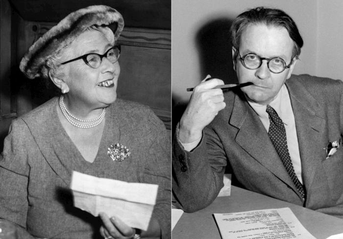 Agatha Christie in 1957, left, and Raymond Chandler in 1946.