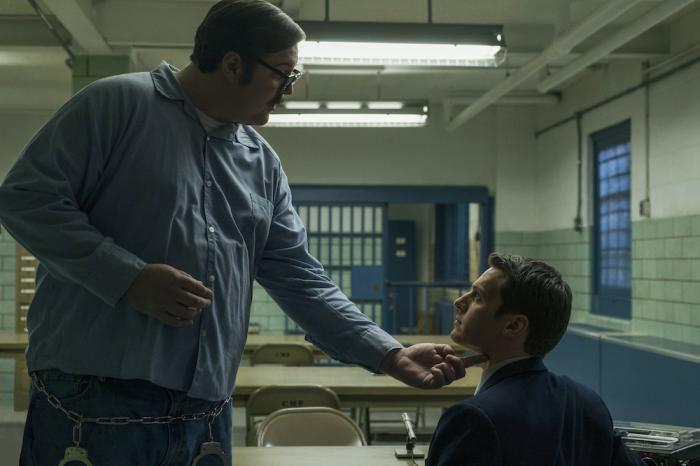 "Cameron Britton, left, and Jonathan Groff, right, in a scene from ""Mindhunter."""