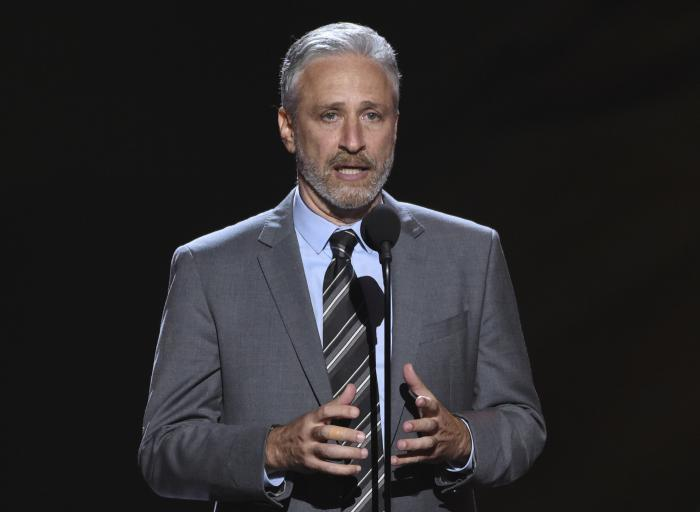 Jon Stewart presents the Pat Tillman award for service on July 18, 2018, at the ESPY Awards in Los Angeles.
