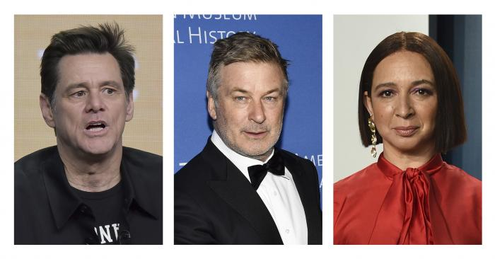 Jim Carrey, left, appears in an Aug. 2, 2019, photo in Beverly Hills, Calif. Alec Baldwin, middle, appears in a Nov. 21, 2019, photo in New York. Maya Rudolph appears in a Feb. 9, 2020, photo in Beverly Hills