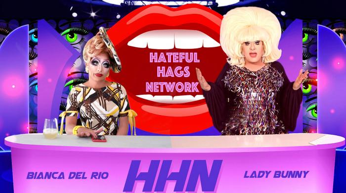 """Bianca Del Rio and Lady Bunny on the set of """"Hateful Hags Network'"""