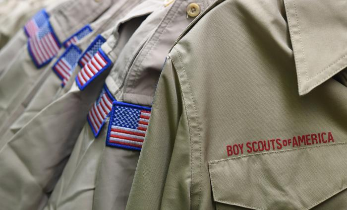 In this Feb. 18, 2020, file photo, Boy Scouts of America uniforms are displayed in the retail store at the headquarters for the French Creek Council of the Boy Scouts of America in Summit Township, Pa