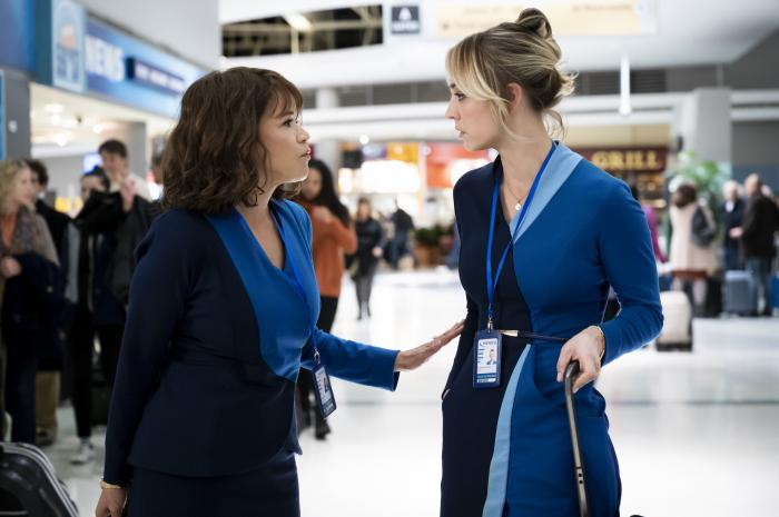 "Rosie Perez, left, and Kaley Cuoco in a scene from ""The Flight Attendant."""