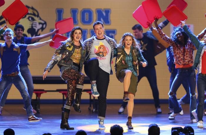 """The cast of """"Mean Girls"""" performs at the 72nd annual Tony Awards on June 10, 2018, in New York"""