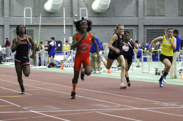 Bloomfield High School transgender athlete Terry Miller, second from left, wins the final of the 55-meter dash over transgender athlete Andraya Yearwood, far left, and other runners in the Connecticut girls Class S indoor track meet at Hillhouse High School in New Haven, Conn.