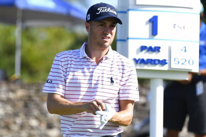 Justin Thomas waits to hit from the first tee during the final round of the Tournament of Champions golf event.