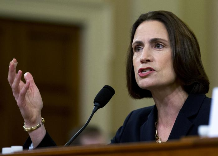 In this Nov. 21, 2019, file photo, fFormer White House national security aide Fiona Hill, testifies before the House Intelligence Committee on Capitol Hill in Washington. (AP Photo/Jose Luis Magana, File)