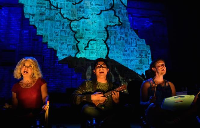 """The cast (l to r: Kirsten """"Kiki"""" deLohr Helland, Justin Huertas, and William A. Williams) shares folklore about a monster that emerged from Mount St. Helens in TheatreWorks Silicon Valley's 'Lizard Boy.'"""